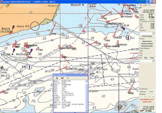 Типичный вид навигационной программы с включенными метками AIS